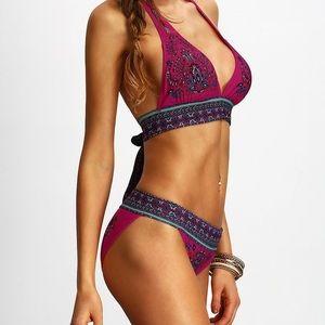 Halter Tribal Print Bikini Set